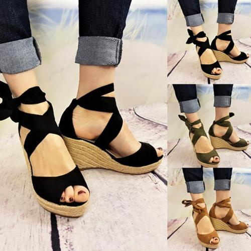 Plus Size Peep Toe Bandage Espadrilles Wedge Sandals