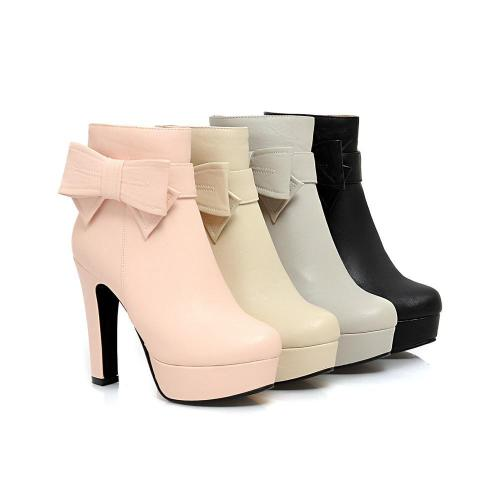 Bowtie Platform Short Boots Plus Size Women Shoes 2949