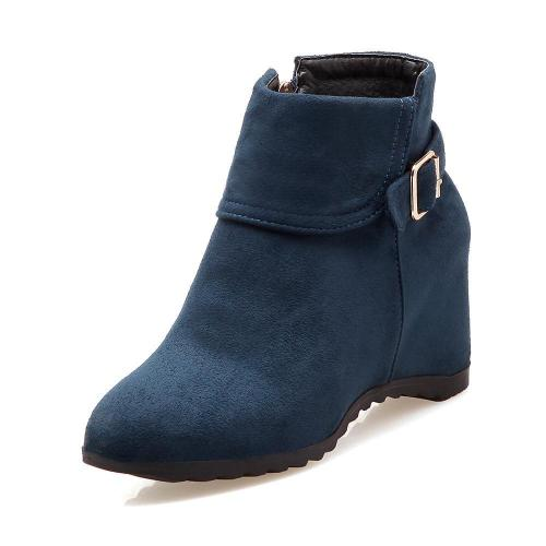 Autumn Winter Buckle Wedges Short Boots