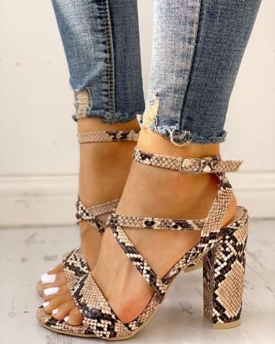 Snakeskin Crisscross Chunky Heeled Sandals