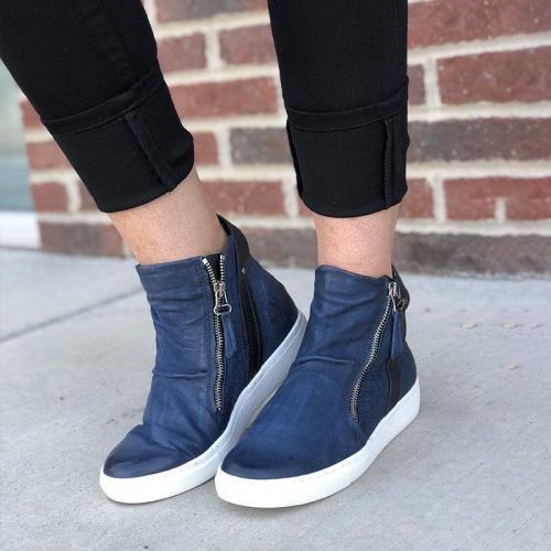 Zipper Artificial Leather Outdoor Sneakers
