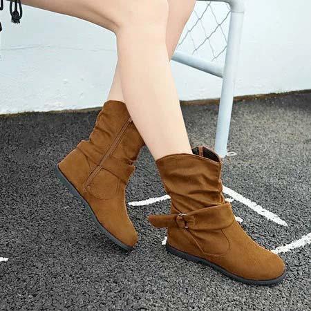 Casual Side Zipper Boots Plus Size Inside Heel Short Boots