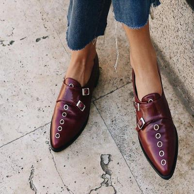 Rivet Pointed Toe Buckle All Season Loafers