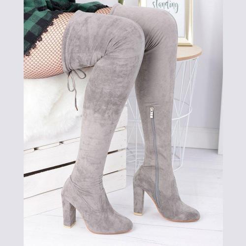 Side Zipper Chunky Heel Fall Suede Knee Boots