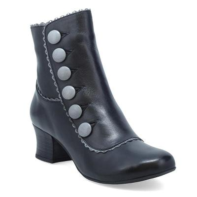 Elegant Chunky Heel Button Side Zipper Boots