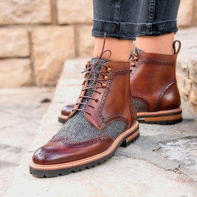 Women Pointed Pu Panel Low Heel Lace-Up Casual Combat Boots