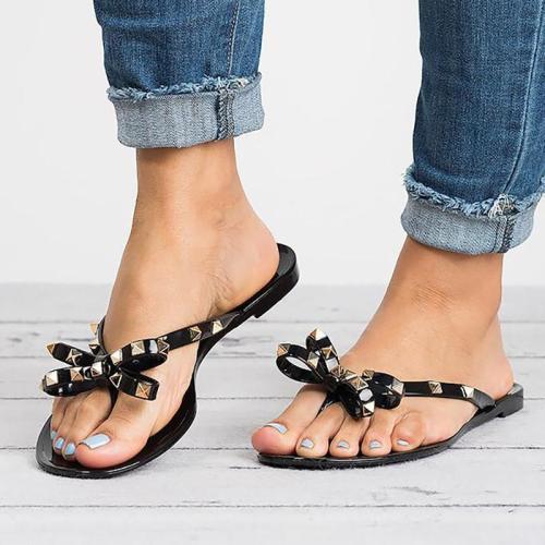 Women PVC Slippers Beach Rivet Bowknot Shoes