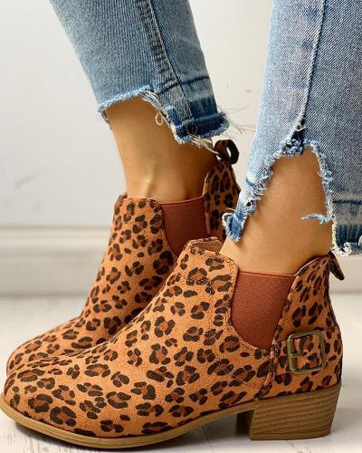 Suede Design Chunky Heeled Boots