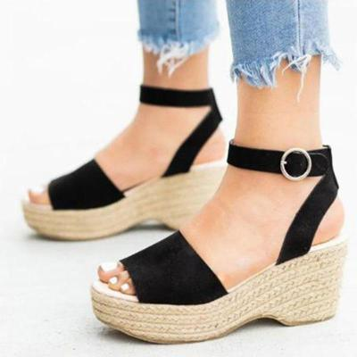 Women's Open Toe Wedge Heel Buckle Strap Sandals