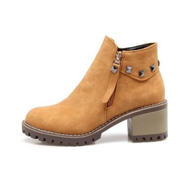 Studded Zip Short Boots Plus Size Women Shoes 9128