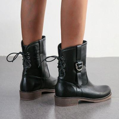 Woman Buckle Lace-up Round Toe Chunky Heel Knight Boots