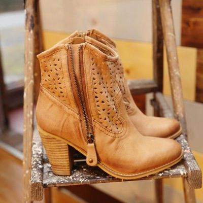 Plus Size Breathable Leather Side Zipper Chunky Heel Ankle Boots