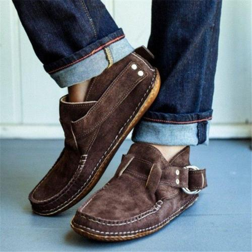 Women Casual Daily Comfy Buckle Stap Flat Booties