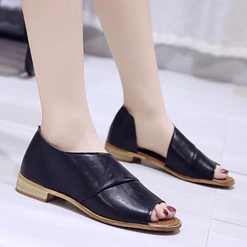 Summer sandals shoes woman 2019 new fish mouth flat women shoes sandals solid color vintage sandals women zapatos de mujer