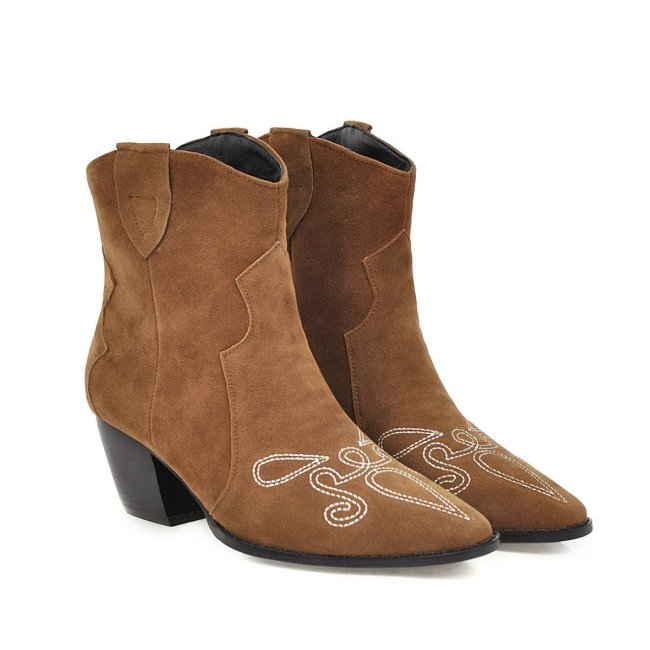 Faux Suede Daily Fall Block Heel Boots