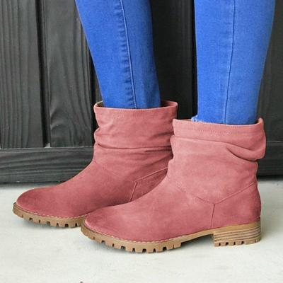 Women's suede casual flat boots