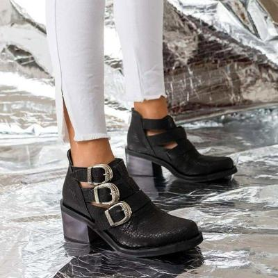 Adjustable Buckle Artificial Leather Boots Cut Out Buckle Booties