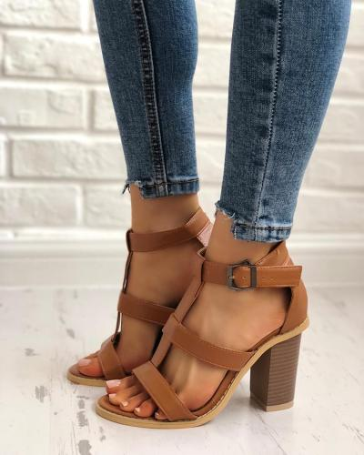 Casual Solid Color Chunky Heel Sandals