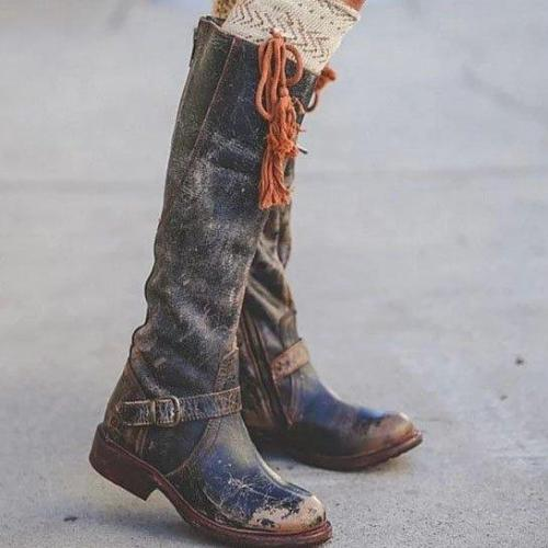 Black Low Heel Round Toe Boots