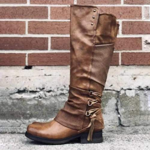 Women Low Heel Back Lace Up Tall Boots