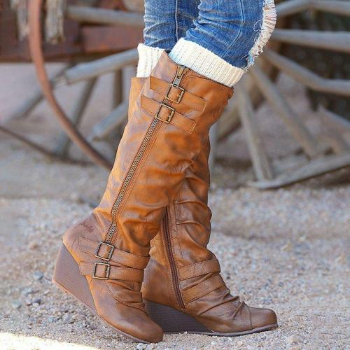 Women Casual Daily Buckle Strap Zipper Mid Calf Wedge Boots
