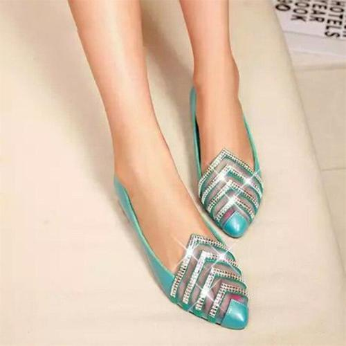 Women Spring Flats Soft Shallow Loafers Fashion Casual Flat Shoes Crystal Transparent Comfort PU Boat Shoes Ladies Plus Size