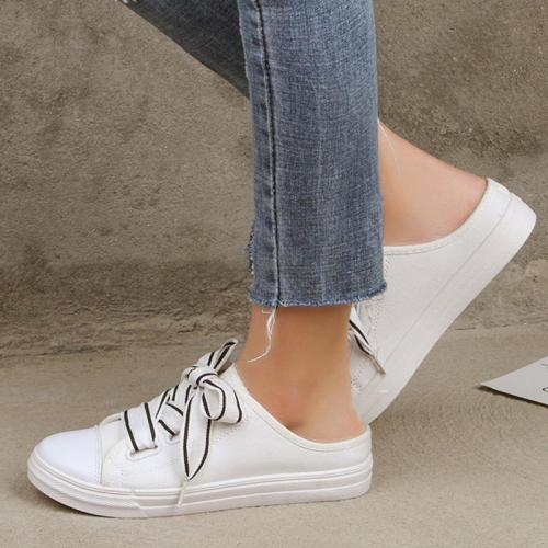 Casual Canvas Flats Lace-up Slip-On Shoes