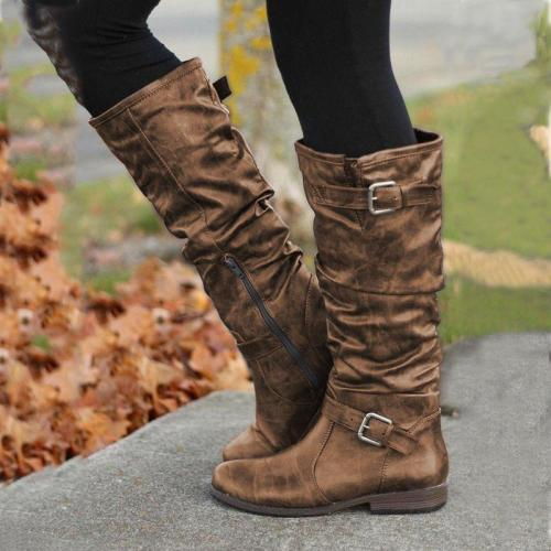 Low Heel Buckle Strap Artificial Leather Womens Boots