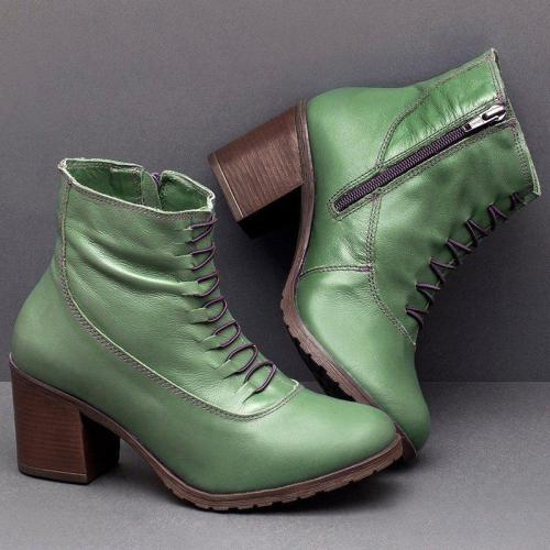 Women Casual Daily Zipper Chunky Heel Boots