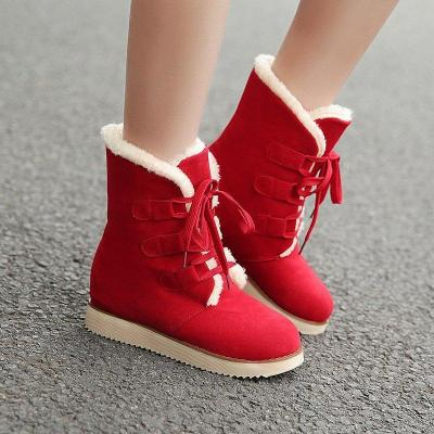 Women's Low Heel Plus Velvet Warm Cotton Snow Boots