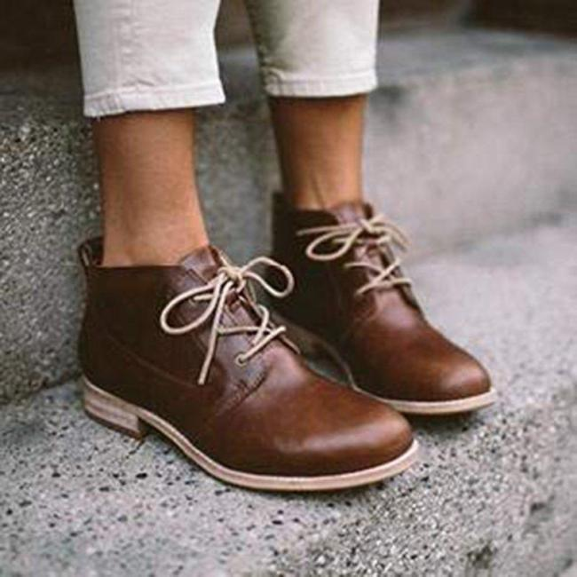 Casual Lace-Up Low Heel Loafers Womens Ankle Boot