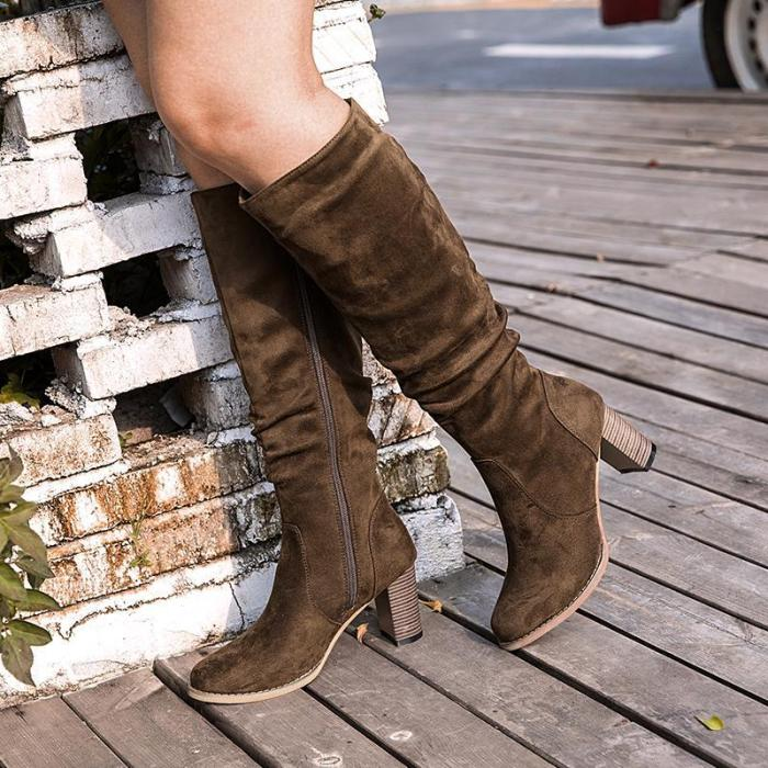 Women's thick and suede zipper boots