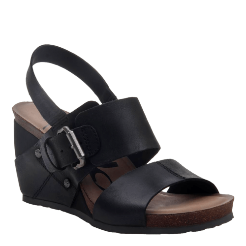 OVERNIGHT in BLACK Wedge Sandals