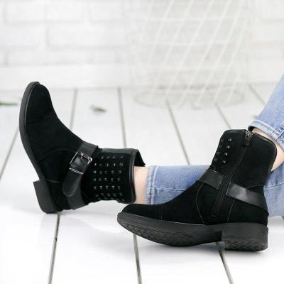Plus Size Suede Chunky Heel Side Zip Ankle Boots