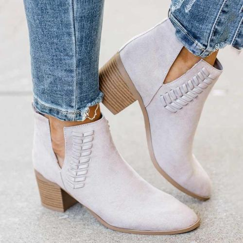 Side Cut Slip-on Chunky Heel All Season Ankle Boots