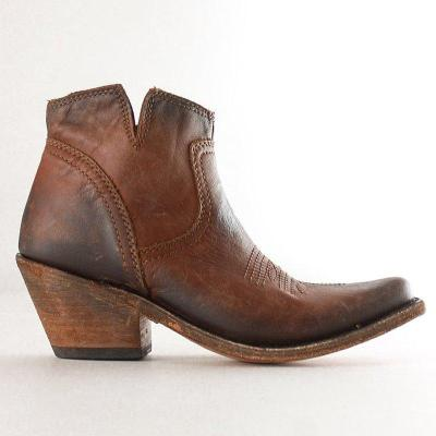 Vintage Stylish Pointed Toe Block Heel Ankle Boots Slip-On Women's Boots