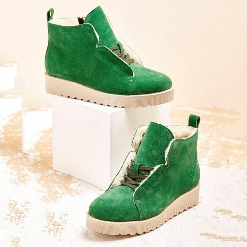 Winter Warm Fur Lined Ankle Boots Platform Lace-up Snow Boots