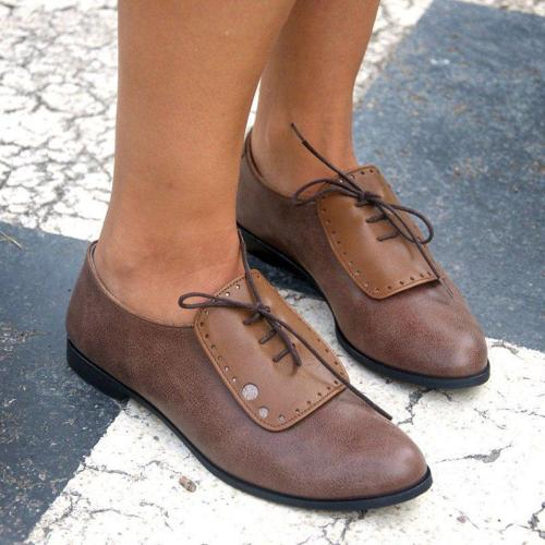 Pu Leather  Lace-Up Low Heel All Season Loafers