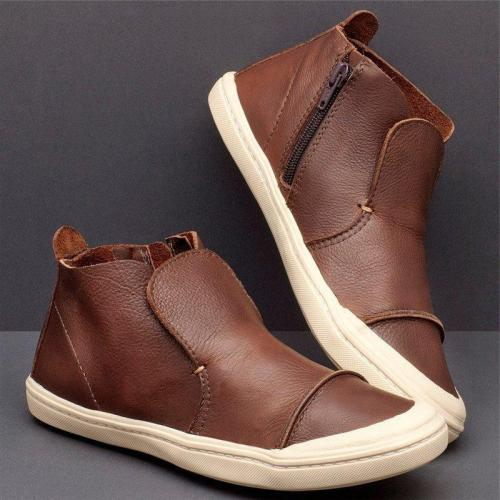 Women Casual High Top Zipper Comfy Flat Sneakers