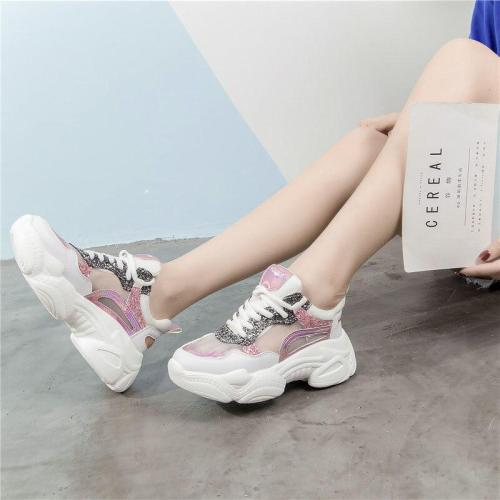 Mesh casual shoes women breathable summer white platform sneakers female fashion Sequin Lace Up Women Vulcanize Shoes 2020 VT254