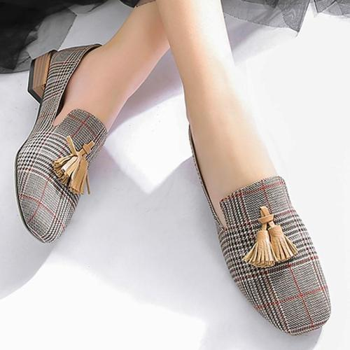 Fringe Loafers for girls Fashion Gingham Flats shoes women Slip-on Soft Canvas Lazy shoes Designer Flats luxury 2019