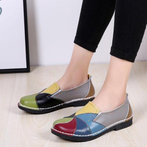 Women Flat Shoes 2020 Autumn Fashion Patchwork Women Shoes Genuine Leather Loafers Ladies Flats Shoes Woman Leisure Footwear
