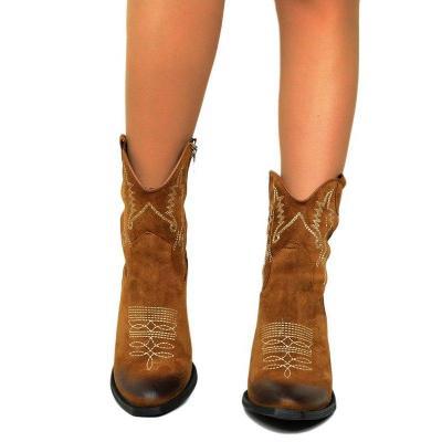 Women's Faux Suede Chunky Heel Zipper Mid-Calf Boots