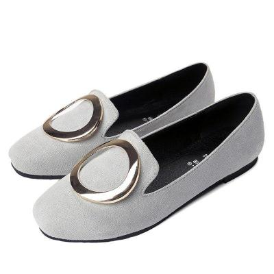 2019 Summer New Trend Women's Shoes Metal Round Buckle Korean Square Toe Comfortable Casual Women's Shoes Flat YX0032