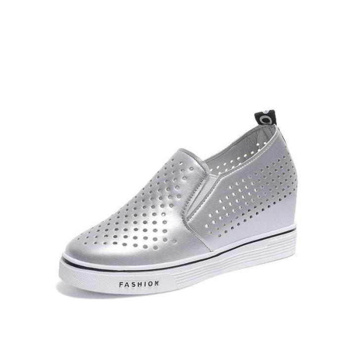 Women Spring Slip On Flat Shoes Ladies PU Leather Breathable Increasing Internal Vulcanized Woman Casual Platform Shoes
