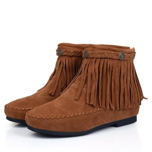 Women Tassel Short Boots Plus Size Autumn and Winter Shoes 8251