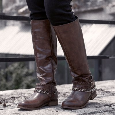 Women Winter Slip-On Vintage Knee-High Boots