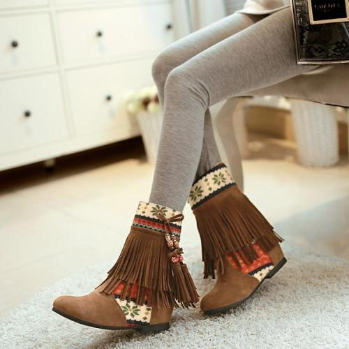 Women Tassel Short Boots Plus Size Autumn and Winter Shoes 8252
