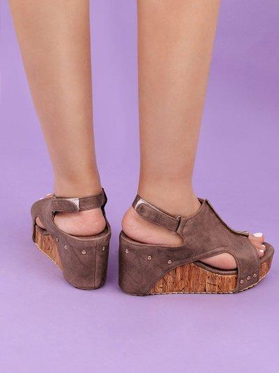 Plus Size Peep Toe PU Wedges Blocking Hook-Loop Wedge Sandals