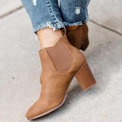Casual Slip-on Elashic Band Chunky Heel Ankle Boots